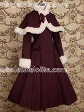 Top Sale Burgundy Wool Japan Warm Winter Sweet Lolita Dress Winter Coats All Size For Sale