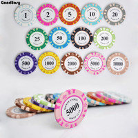 Factory Price Cheap 14g 14 Colors Crown Monte Carlo Clay Poker Chip With Trim Sticker