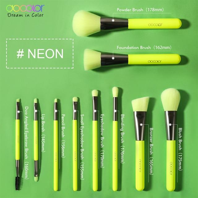 Docolor 10Pcs Neon Makeup Brushes Professional Powder Foundation Eyes Blending Makeup Brushes Set Synthetic Hair Cosmetics Brush 3
