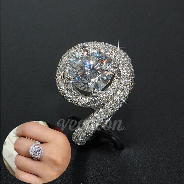 Vecalon Romantic ring Women Men Jewelry 2ct Simulated diamond Cz 925 Sterling Silver lovers Engagement wedding Band ring Gift