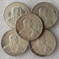 Швейцария (Конфедерация) набор (1937-1954) 5 шт. Серебряные 5 Франков (5 Франкен) копировать Монет диаметр: 31.45 мм Оптовая