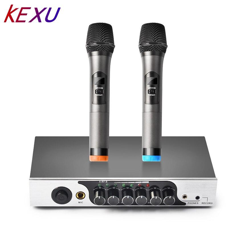 KEXU UHF Microphone à main sans fil double canal, système de Microphone sans fil karaoké facile à utiliser pour fête de famille, église