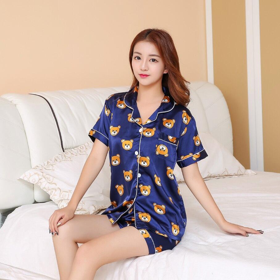 f0d774d451 JRMISSLI Summer Women Pajamas Sets Bear Printed Short Sleeve Cute Pajamas  For Women Pijama Mujer Pyjamas