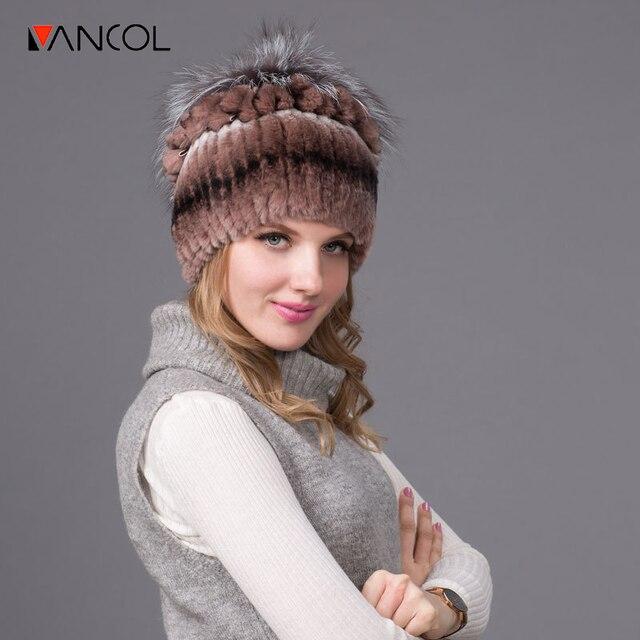 Vancol 2016 Nuevo Invierno Chapeau Beanie para Las Mujeres Sombreros de Piel Reales Femme Caps de Lana de Punto Caliente Doble Forro de Las Mujeres Sombrero de Piel de Conejo