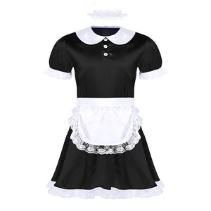 Image 2 - סקסי Mens סיסי תלבושות ילדה אחיד שמלת תלבושות בובת צוואר קצר שרוול סאטן שמלה עם סרט סינר סקסי קוספליי