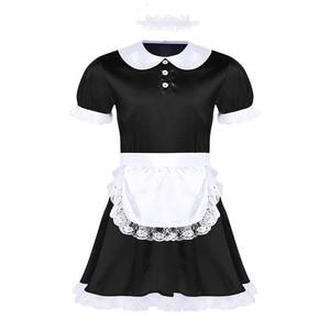 Image 2 - Seksowne męskie Sissy kostiumy dziewczyna pokojówka sukienka, mundurek kostium lalka szyi z krótkim rękawem satynowa sukienka z pałąkiem na głowę i fartuch Sexy Cosplay