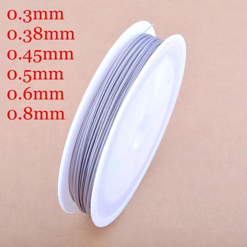 Spedizione gratuita tono argento tiger tail borda il filo di acciaio 0.3/0.38/0.45/0.5/0.6/0.8mm