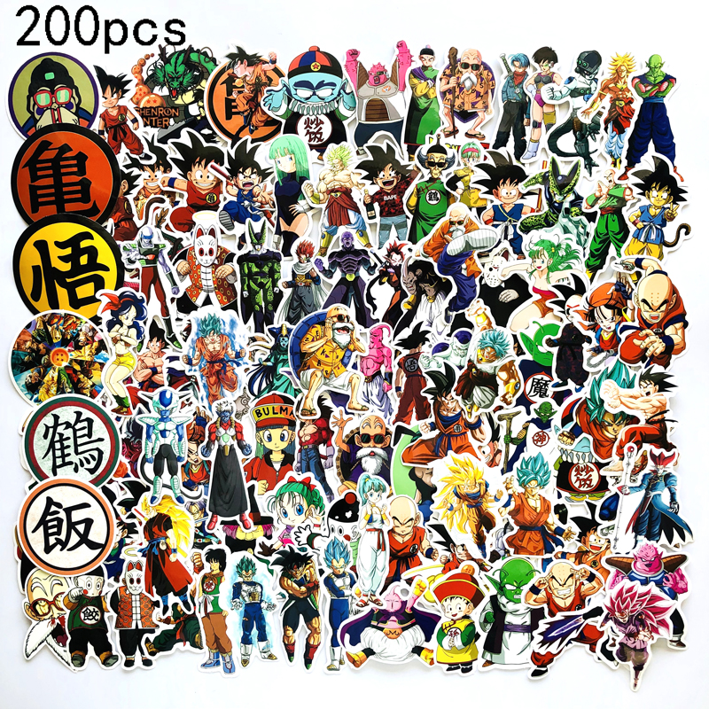 200Pcs Dragon Ball Stickers Super Saiyan Goku Sticker Decal For Snowboard Luggage Car Fridge Car- Styling Laptop DIY Stickers