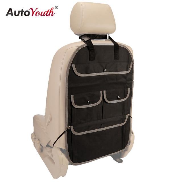 AUTOYOUTH Car Seat Back Organizer Multi-Pocket Travel Storage Bag, Kids Toy Storage, Back Seat Protector / Kick Mat