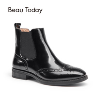 Beau Today Genuine Leather Chelsea Boots For Women New Fashion Patent Leather Ankle Brogue Shoe 03045