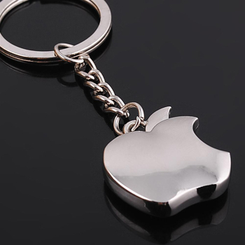 Silver Plated Apple Keychain