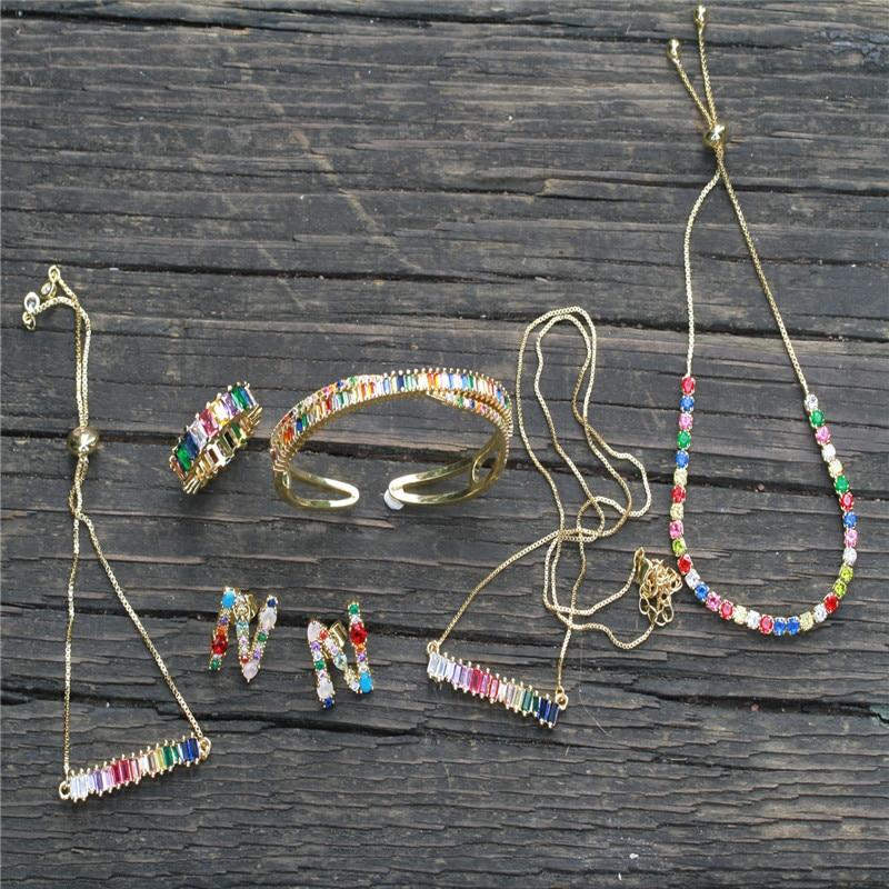 Stylish Gold New Rainbow Crystal Zircon Rectangular Geometric Adjustable Bracelet And Women's Fashion Necklace Jewelry Gift
