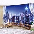 Городской Ночной сцена напечатанные большие настенные гобелены дешевые хиппи настенные Висячие богемные настенные гобелены Мандала насте...