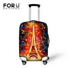 Forudesigns дорожного чемодана Cover спандекс багажа защитные крышки относятся к 18-30 дюймов случае Эйфелева Башня Живопись Пылезащитный чехол