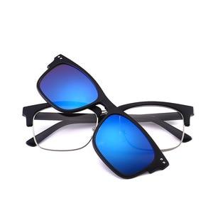 Image 3 - Polarize güneş gözlüğü seti 3 adet manyetik klipler TR çerçeve gözlük üzerinde mıknatıs rahat optik miyopi gözlük