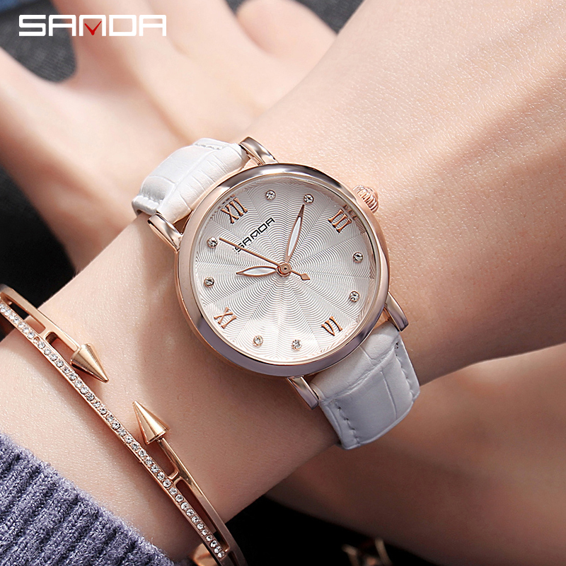 New 2018 SANDA Women Casual Watch Ladies Leather Luxury Watches Woman Dress Quartz Wristwatch Simple Female Clock Hours Black new 2018 luxury brand simple pink dial women casual wristwatch ladies leather quartz watch female elegant dress clock hours