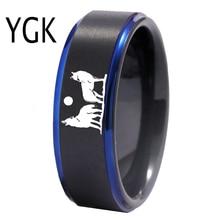 YGK Anillo de tungsteno con lobo aullando para hombre, sortija clásica de compromiso, boda, aniversario, regalo, grabado gratis