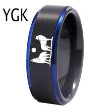 YGK Howling Wolf ออกแบบแหวนทังสเตนผู้ชายคลาสสิกหมั้นครบรอบแหวนคู่รักแหวนของขวัญแกะสลักฟรี