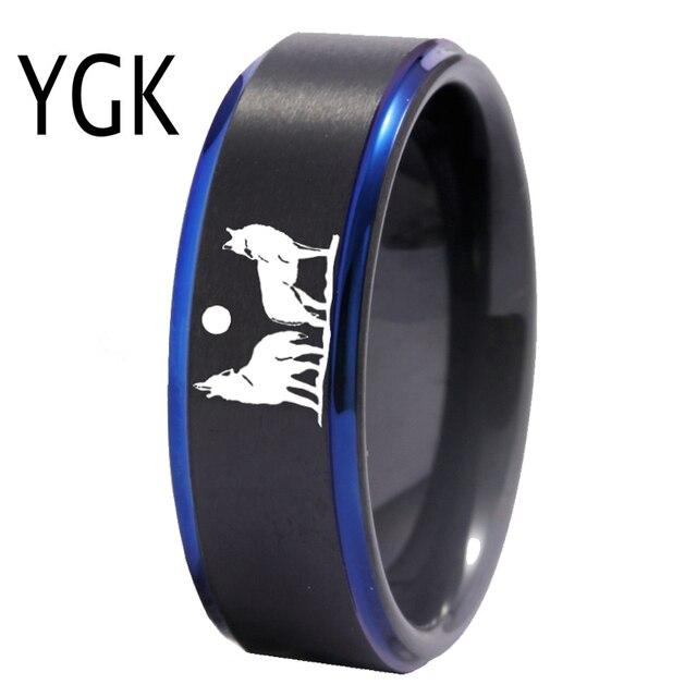 YGK Howling wolf Design Wolfram Ring männer Klassische Hochzeit Engagement Jahrestag Liebhaber der Ring Geschenk Ring Freies Gravur