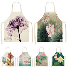 1Pcs Flower Lotus Pattern Women Lady Apron for Home Kitchen Restaurant Cooking Bib Aprons Catering Anti Fouling 53*65cm  WQ0006