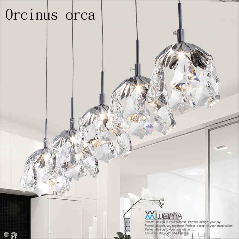 Nordic modern simple personality LED Crystal hanging lamp single head three Restaurant Bar bedroom lightingNordic modern simple personality LED Crystal hanging lamp single head three Restaurant Bar bedroom lighting