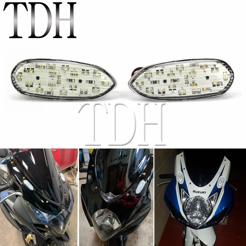1 Pair Motorcycle <font><b>LED</b></font> Turn Signal Light Indicator Light Amber Lamp Blinker Flasher For <font><b>Suzuki</b></font> <font><b>GSXR</b></font> GSX-R 600 <font><b>750</b></font> 1000 2006-2016 image