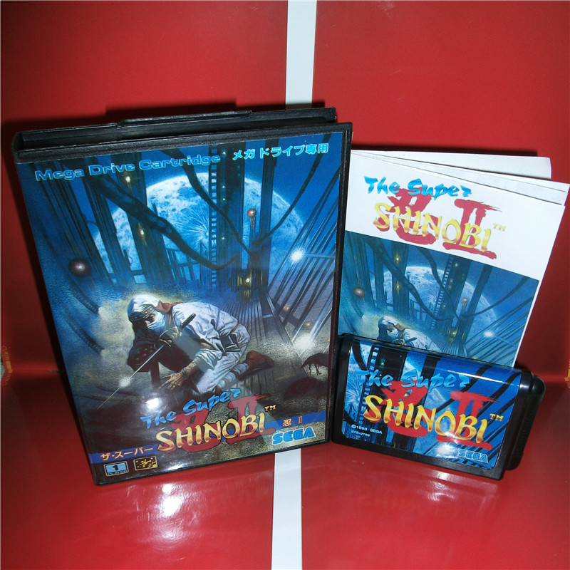 The Super Shinobi 2 Japan Cover with box and manual for Sega MegaDrive Genesis Video Game Console 16 bit MD card