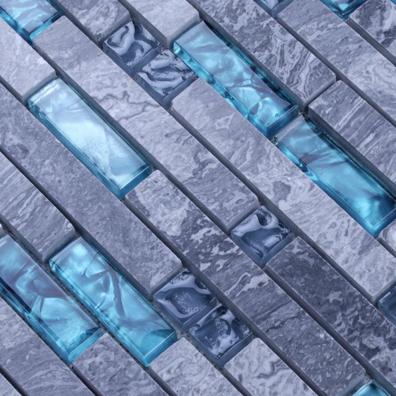 Stone glass tile kitchen backsplash cheap gray marble bathroom flooring designs N008 blue