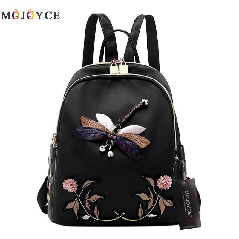 купить Handmade Embroidery Women Backpack Luxury Brand Desinger Nylon Black Elegant Female backpacks Travel Bag по цене 768.37 рублей