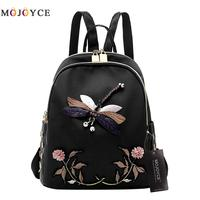 Handmade Embroidery New Fashion Women Backpack For Teenage Girls High Quality Desinger Nylon Black Elegant Female