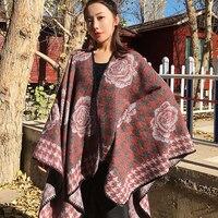 Retro Thick Plus Women Cape Coat Shawl Scarf Women Poncho Cloak Capas Long Ponchos Damas Mujer Kerst Femme Poncho 5ZC0627f