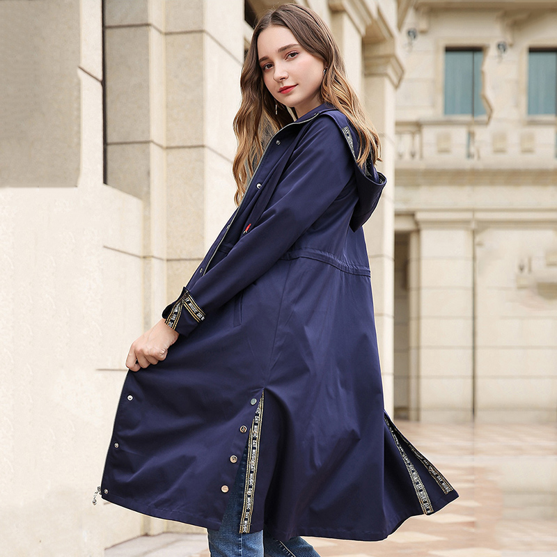 Spring Hooded   Trench   Coat Plus Size Women Clothing 2019 New Arrival Fashion Cuff Design Womens Extra Long Windbreaker Outwear