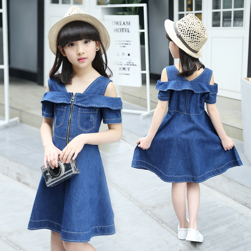 Girls Dress 2018 Summer Jeans Kids Dresses for teenagers Girls Clothes Denim Princess Dress off Shoulder Children's clothing girls dress summer 2017 denim dresses for girls infant strap children clothing princess sundress fashion design kids clothes