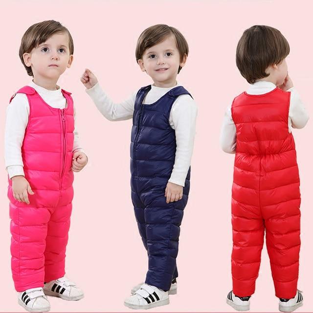 Новые зимние одежда младенца дети утка вниз брюки высокой талии теплые комбинезоны для снег износ малышей мальчики девочки теплый комбинезон верхняя одежда