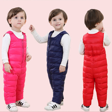 New winter baby clothing kids duck down pants high waist warm jumpsuits for snow wear toddler