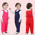 Nuevo invierno ropa de bebé niños pato abajo de los pantalones de cintura alta monos calientes de desgaste de la nieve niño niños niñas mamelucos calientes prendas de vestir exteriores