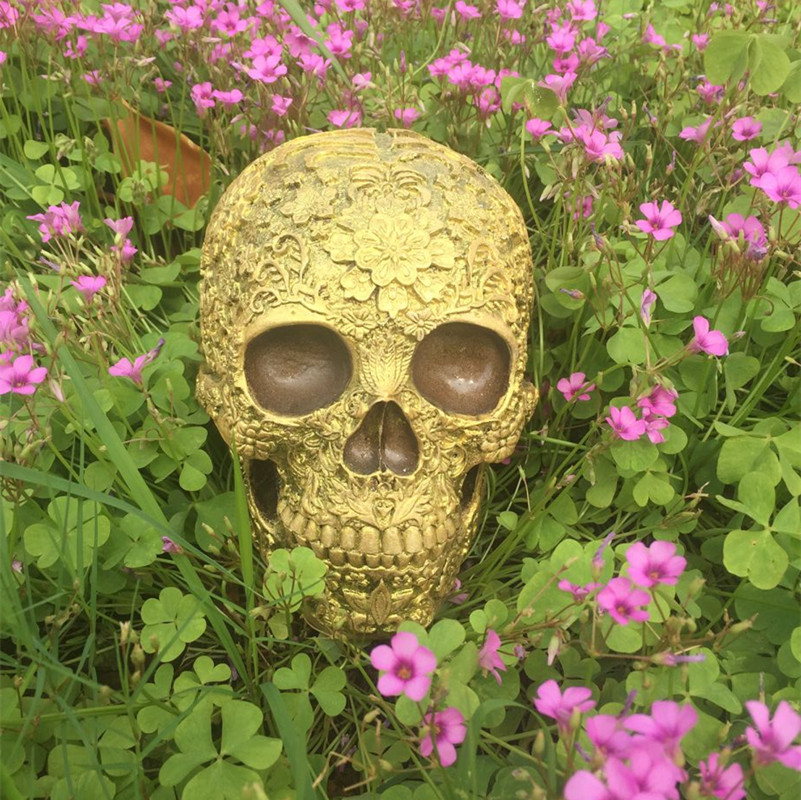 BUF Resin Craft Skull Statues & Sculptures Golden Garden Statues ...