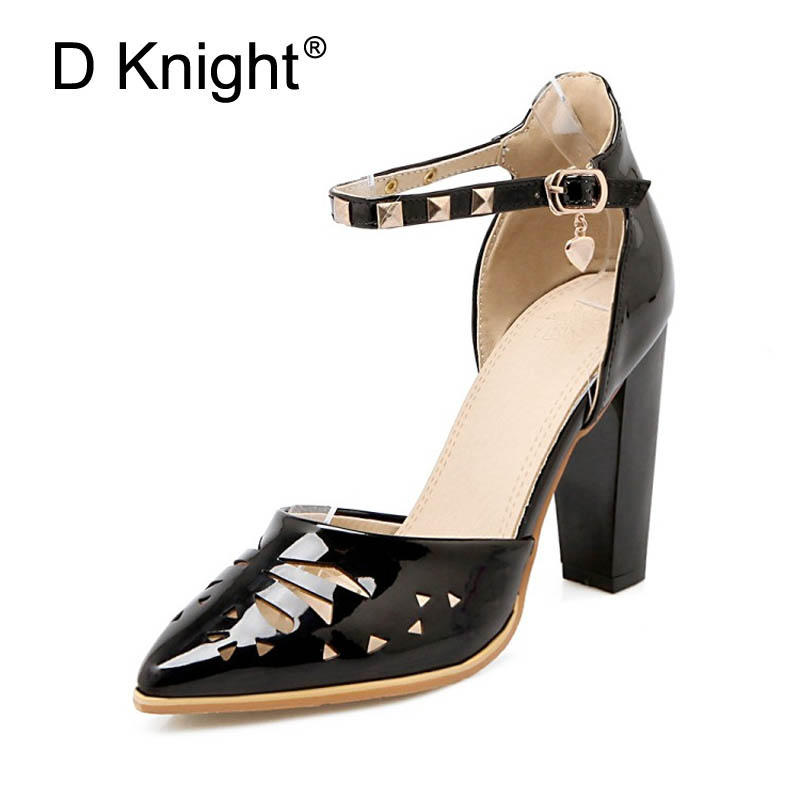 Women Sandals Plus Size 43 High Heel Fashion Buckle Strap Office Lady Pumps Women Shoes Patent Summer Wedding Shoes Woman Girls xiaying smile summer new woman sandals platform women pumps buckle strap high square heel fashion casual flock lady women shoes page 3