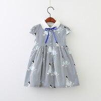 School Kids Dresses Children Spring Summer Bow Striped Girls Clothes Princess Baby Boutique Cute Cartoon Girl