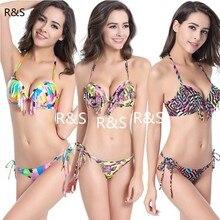 ФОТО 2018 hot sale sexy bikini polyester mid waist women swimsuit padded colorful biquini fringed swimwear 2 pieces bathing suit xl