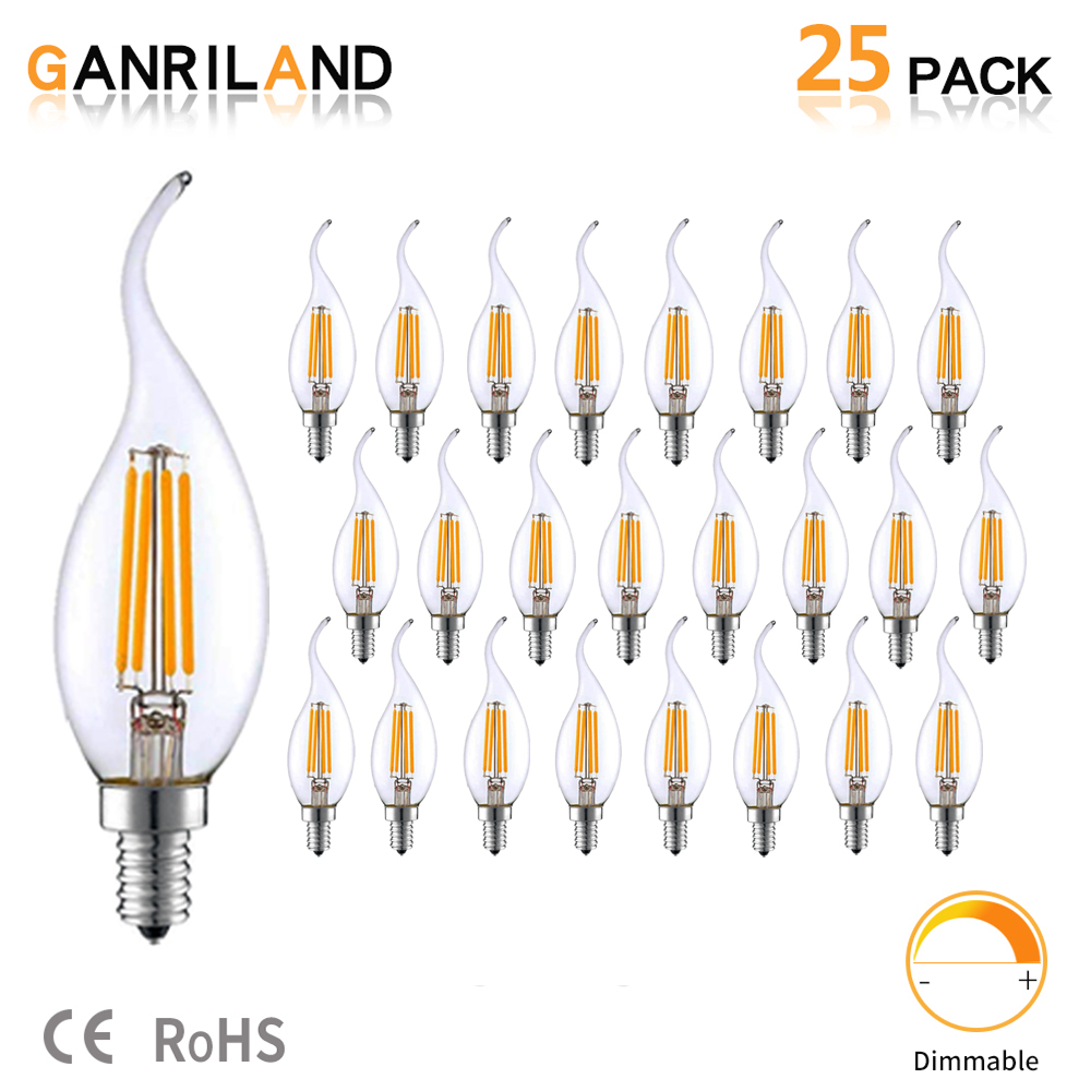 GANRILAND LED E14 220V Lamp 3.5W C35T LED Dimmable Filament Candle Bulbs Candelabra Flame Bent Tip 35W Incandescent Equivalent