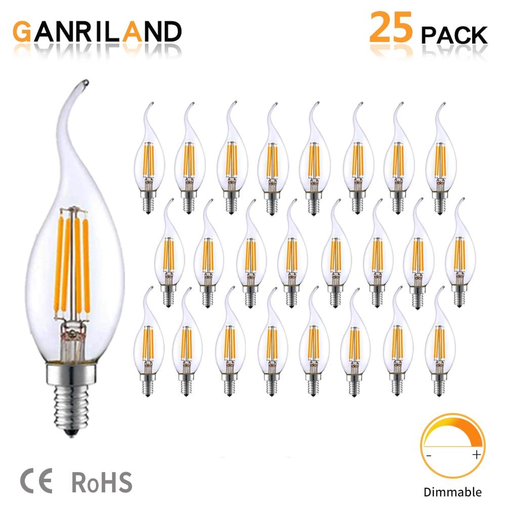 GANRILAND LED E14 220V лампа 3,5 W C35T LED диммируемая лампа накаливания свечи лампы канделябры пламя с изогнутым кончиком 35W эквивалент накаливания