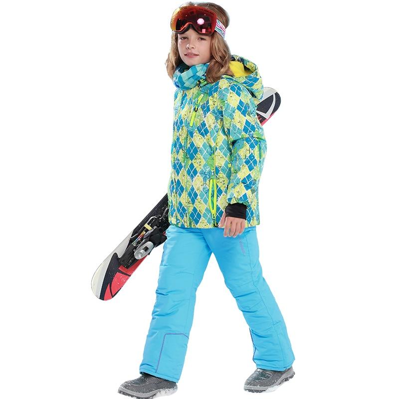 Mioigee 2019 ensemble enfants Ski Snowboard costumes hiver chaud coupe-vent imperméable veste + pantalon Sport costumes pour garçons vêtements