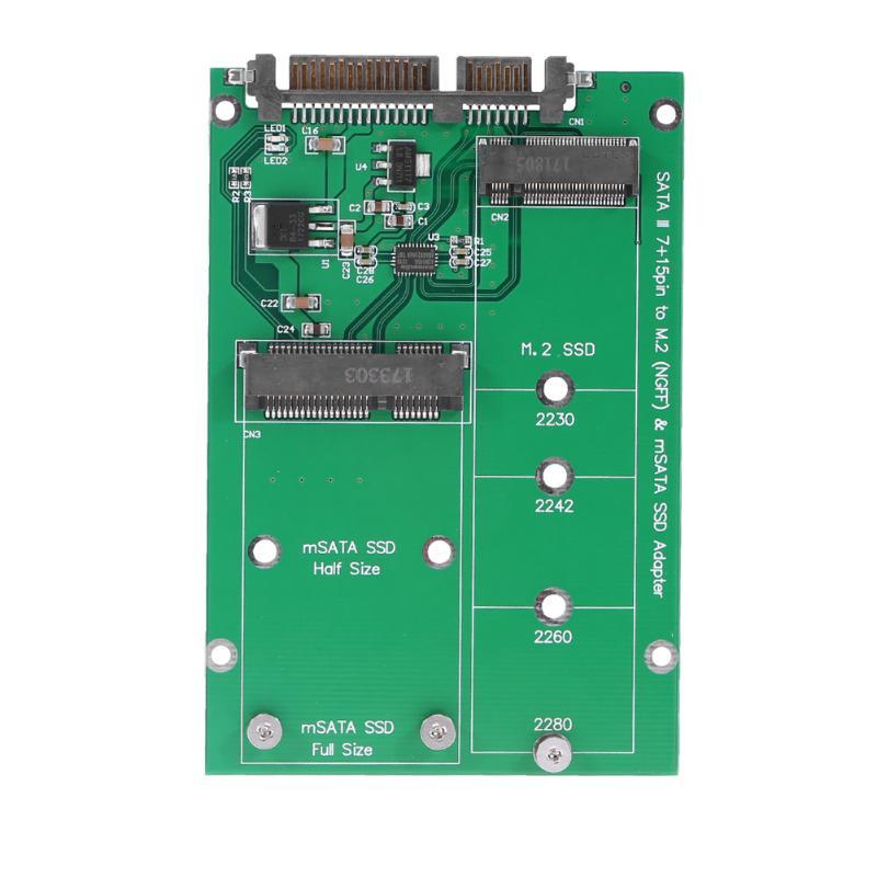 M.2 NGFF/mSATA SSD to SATA III Converter Adapter Card Mini PCI-e 52pin NGFF B Key msata Connector for Notebook PC SSD ssd msata to b key m 2 ngff sata adapter converter adapter card board for laptop desktop