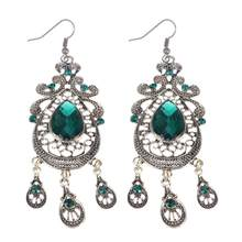 Fashion Jewelry Long Tassel Dangle Earrings 1pair Retro Women Elegant Emerald Rhinestones Created Gemstones Earrings(China)