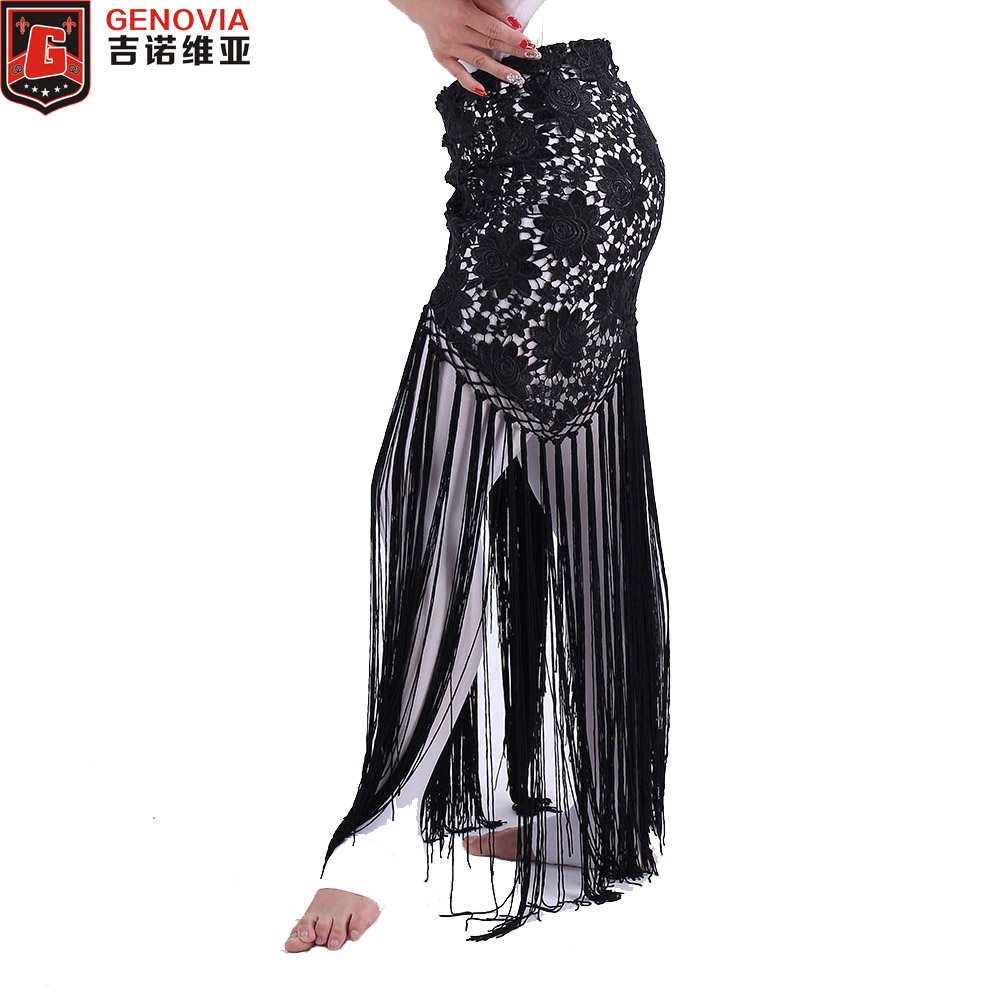 2019 Women Sexy Belly Dance Costume Tribal Tassel Hip Scarf Floral Ladies Bellydance Wrap Belt Skirt Fringes 6 Colors