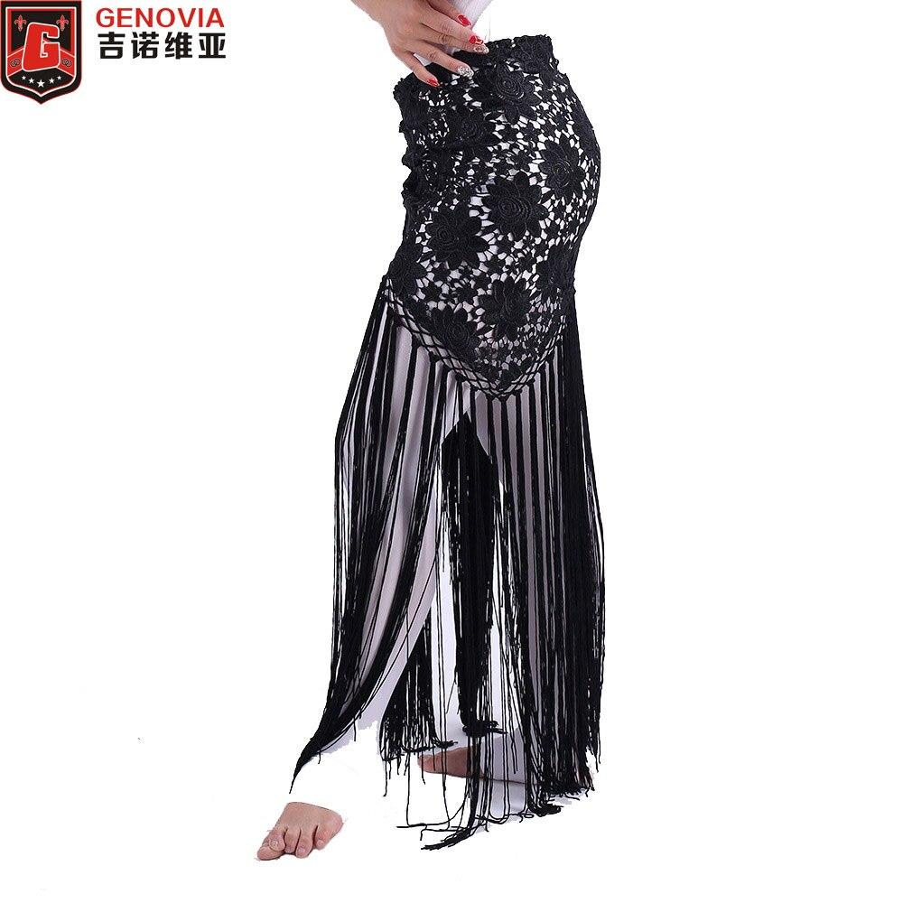 2018 Women Sexy Belly Dance Costume Tribal Tassel Hip Scarf Floral Ladies Bellydance Wrap   Belt   Skirt Fringes 6 Colors