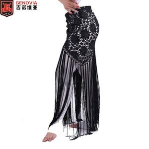 Image 1 - 2019 Women Sexy Belly Dance Costume Tribal Tassel Hip Scarf Floral Ladies Bellydance Wrap Belt Skirt Fringes 6 Colors