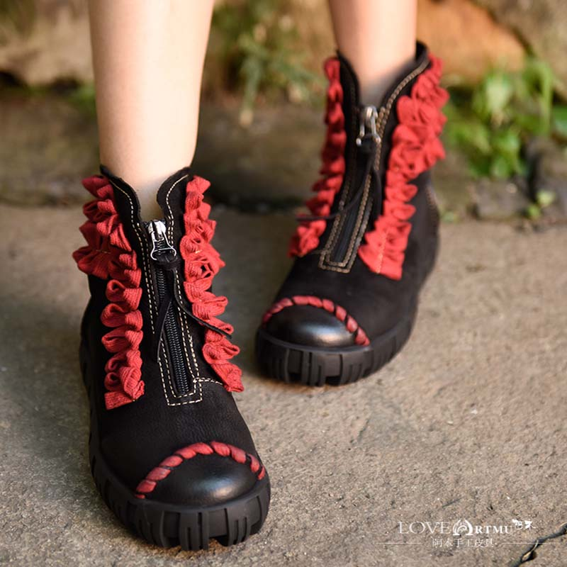 Original 2017 Autumn and Winter New National Trend Cowhide Retro Thick Sole Ankle Boots Comfortable Platform Women Boots 18675 autumn and winter new personality retro cowhide ankle boots handsome female waterproof platform genuine leather women shoes 9731
