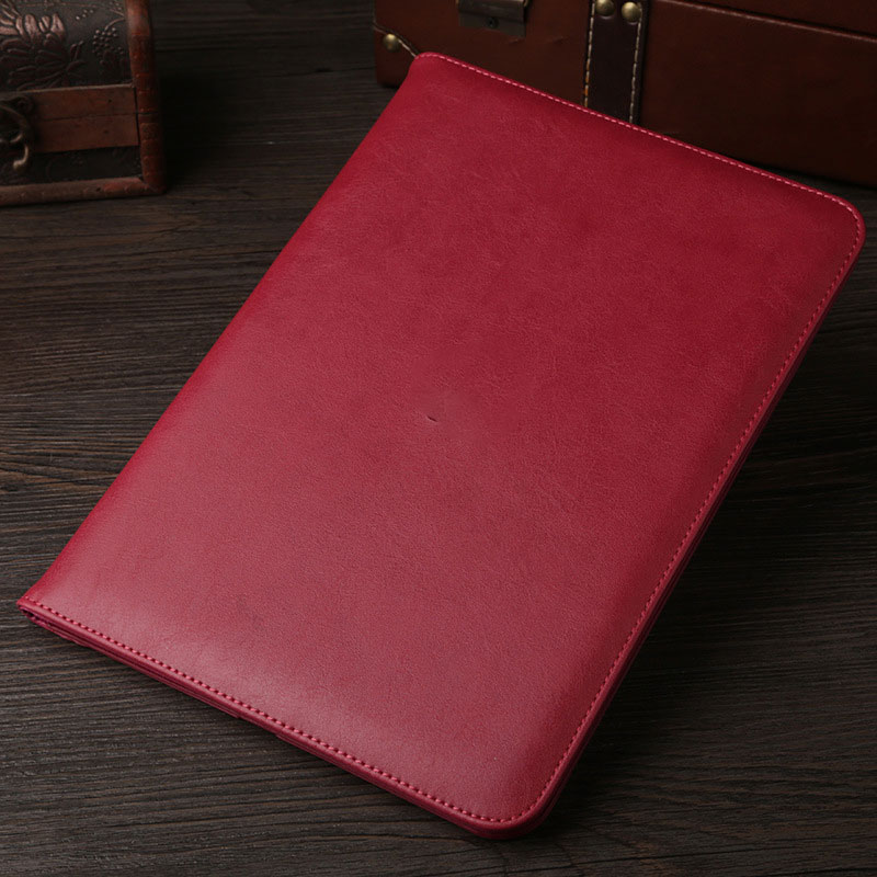 Dark Red Leather retro style smart portfolio case for iPad 2018 9.7 inch (A1893, A1954)